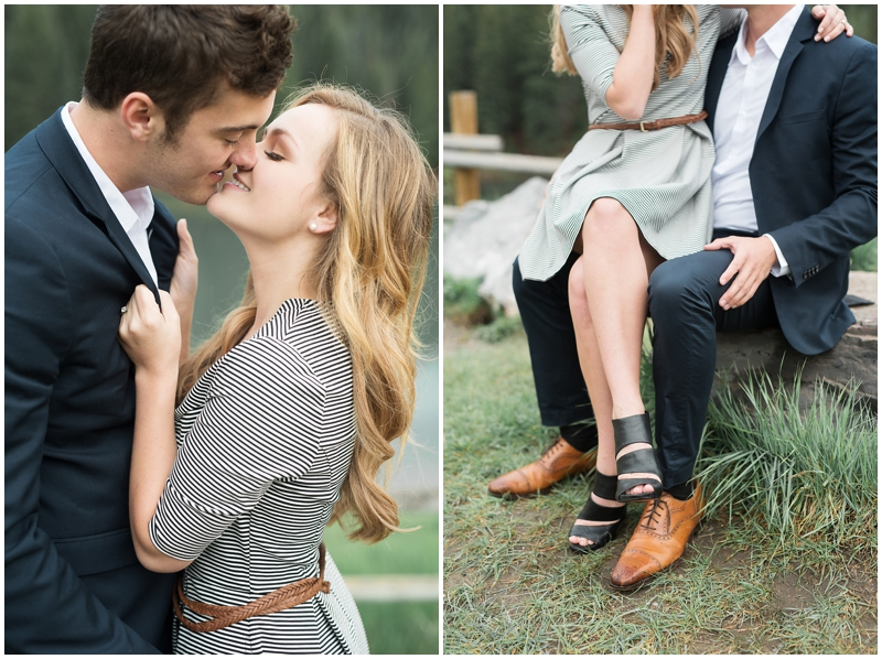 romantic kiss, Beautiful summer engagements, pine trees and a lake, utah wedding photography www.kristinac