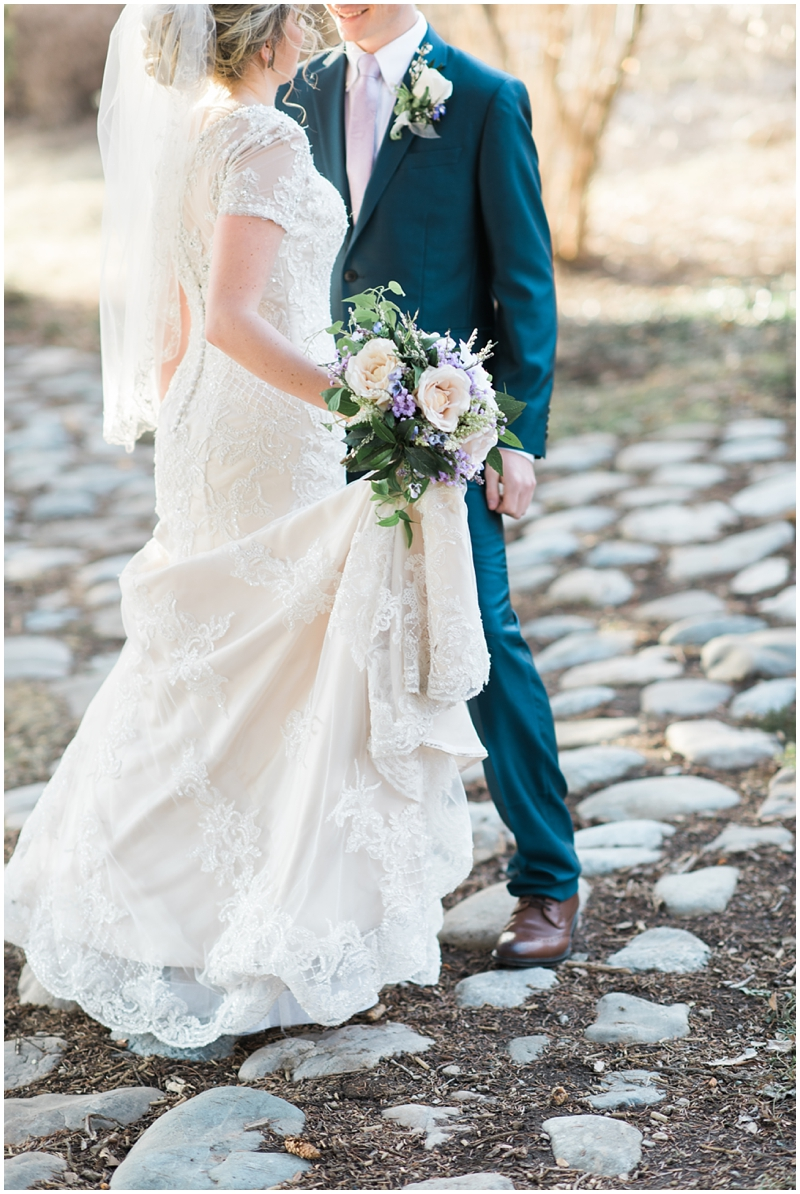 elegant bridals, elegant, classic, regal wedding, bridals in the park, dress details, spring flowers, navy suit, veil, train, www.kristinacurtisphotography.com