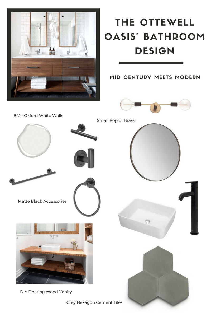 Mid Century Modern Bathroom Design Inspo The Best Affordable Black Bathroom Accessories Kristina Lynne