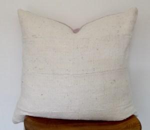white mudcloth pink linen vintage pillow