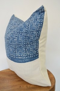 hmong vintage mudcloth white pillow