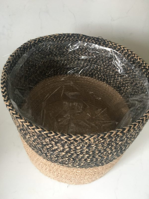 two tone woven basket with plastic insert
