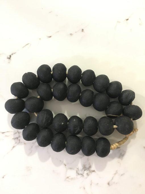 matte black african glass beads