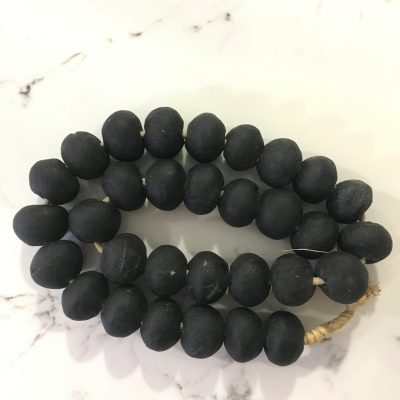 matte black african glass beads