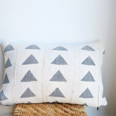 vintage gray triangle mudcloth pillow
