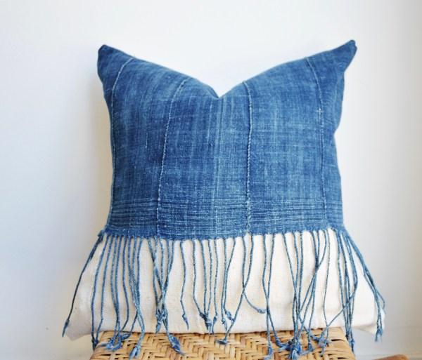 vintage indigo + fringe + mudcloth pillow