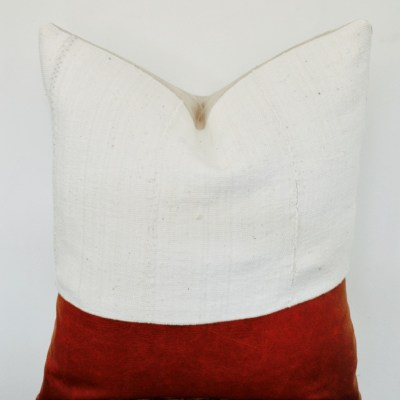 vintage white mudcloth + faux leather pillow
