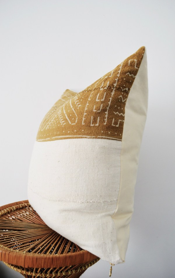 mustard + white mudcloth pillow