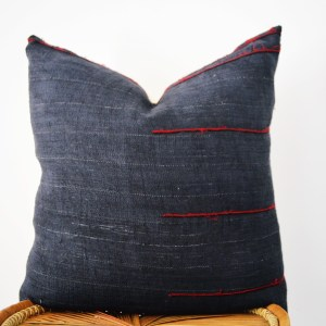 black vintage hmong hemp pillow