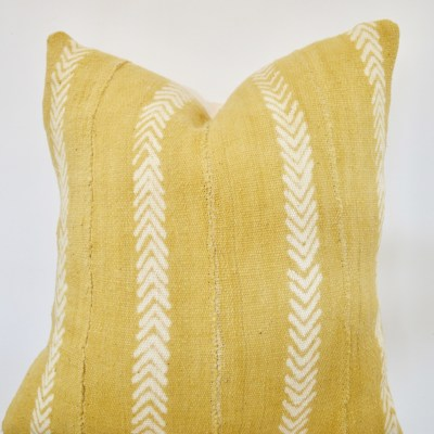 african mustard mudcloth with a v pattern