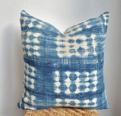 vintage african indigo mudcloth pillow