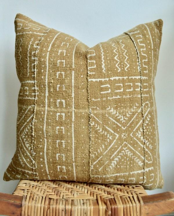 vintage mustard mudcloth pillow