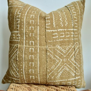 vintage mustard mudcloth pillow