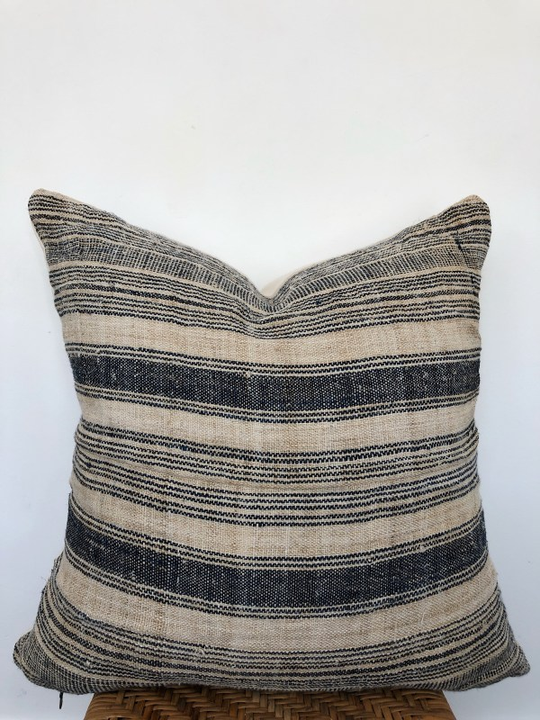 vintage jute hemp stripe pillow