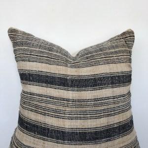 vintage jute hemp stripe pillow