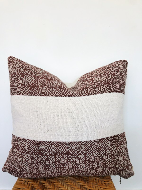batik hemp and vintage mudcloth pillow