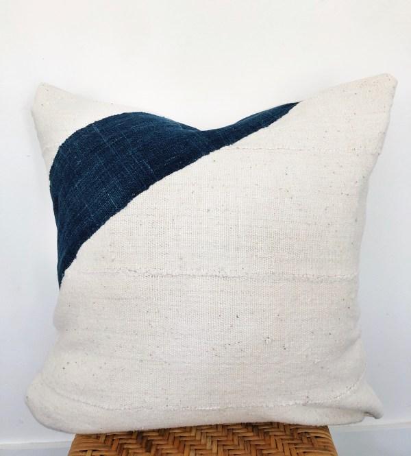 indigo stripe and vintage mudcloth pillow
