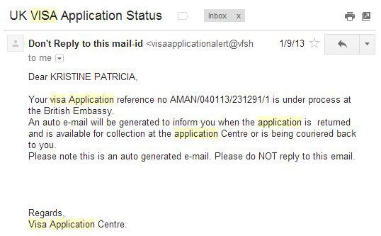 Email that processed visa application has been received