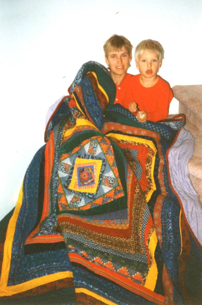 A custom quilt given as a gift by friends