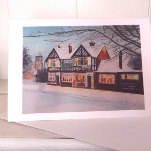 The Dog and Partridge pub in winter greetings card