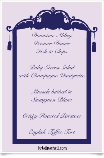 Downton Abbey Premiere Dinner Fish & Chips Menu