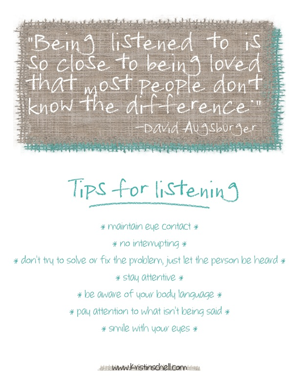 Tips for Listening {printable} | 31 Days of Outrageous Hospitality with Kristin Schell