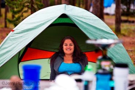 Kristi in REI Tent