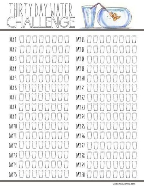 30 Day Water Challenge Printable
