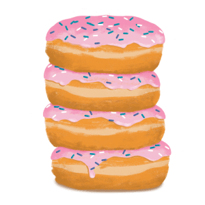 pink sprinkle donuts stacked