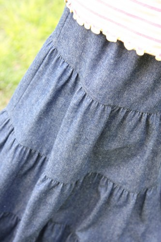 Here's a close-up of the denim Prairie Peasant Skirt Sarah sells in her shop.  So pretty!