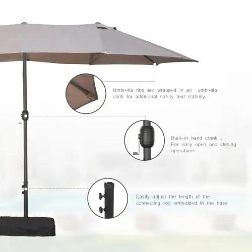 kumo 15ft rectangular patio double sided outdoor large umbrella with sand base taupe 1 unit