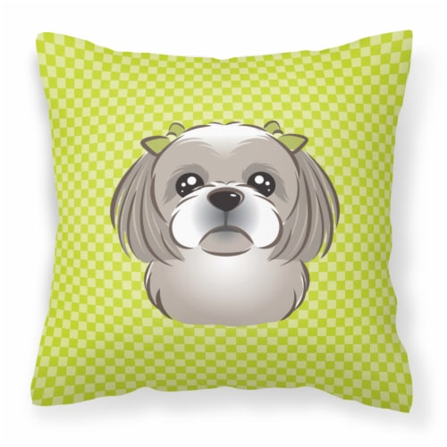 fry s food stores checkerboard lime green gray silver shih tzu canvas fabric decorative pillow 14hx14w