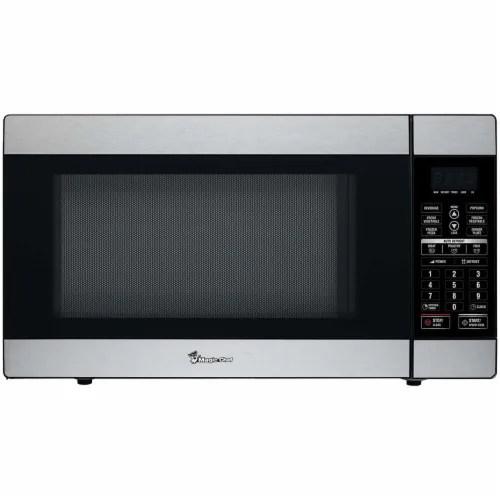 city market magic chef 1100 watt countertop microwave oven stainless steel 1 8 cu ft