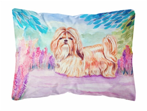 kroger carolines treasures 7136pw1216 shih tzu decorative canvas fabric pillow 12hx16w