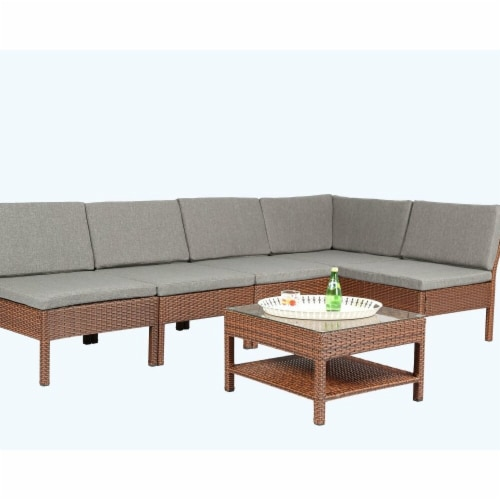 fred meyer baner garden k55 br 6 piece outdoor furniture complete patio backyard pool wicker rattan gard 1