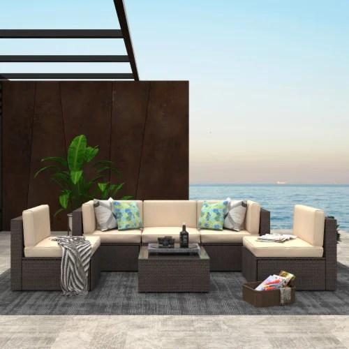 kumo 6 piece patio furniture sectional