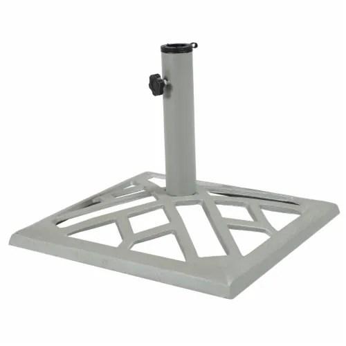 qfc sunnydaze cast iron gray geometric patio umbrella base stand 17 square 1 patio umbrella base