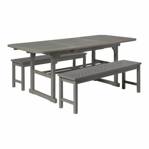 qfc 3 piece extendable outdoor patio dining set grey wash 1