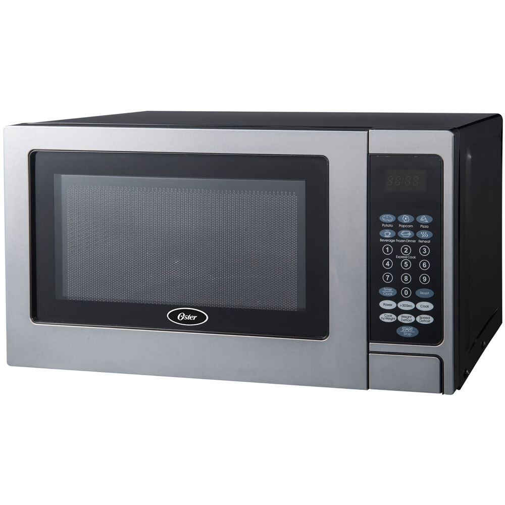 oster 700w microwave oven with stainless steel door trim 0 7 cu ft