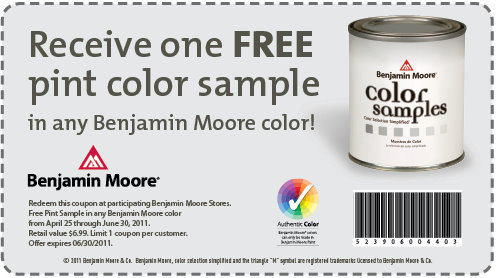 free sample pint of paint at participating benjamin moore on benjamin moore coupon id=83246