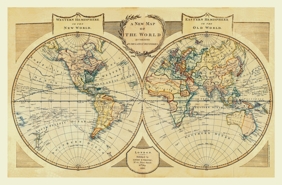 The New Map Of The World.World 1812 1 New And Old Worlds Kroll Antique Maps