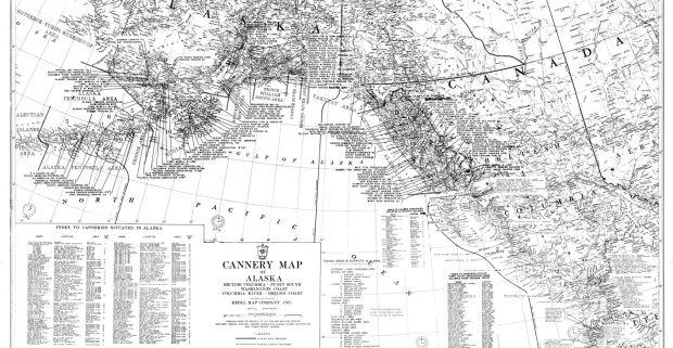 "Kroll Map Company's Alaska Cannery Map, circa 1953, 36""x 21"""