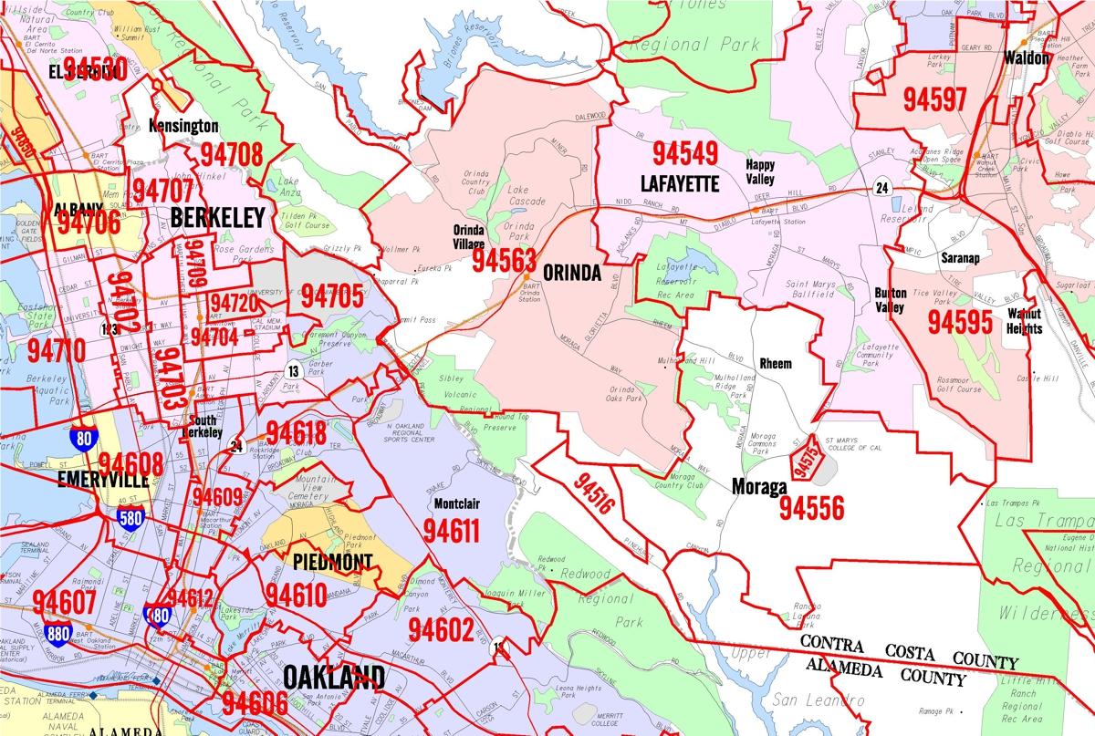 california bay area zip code map