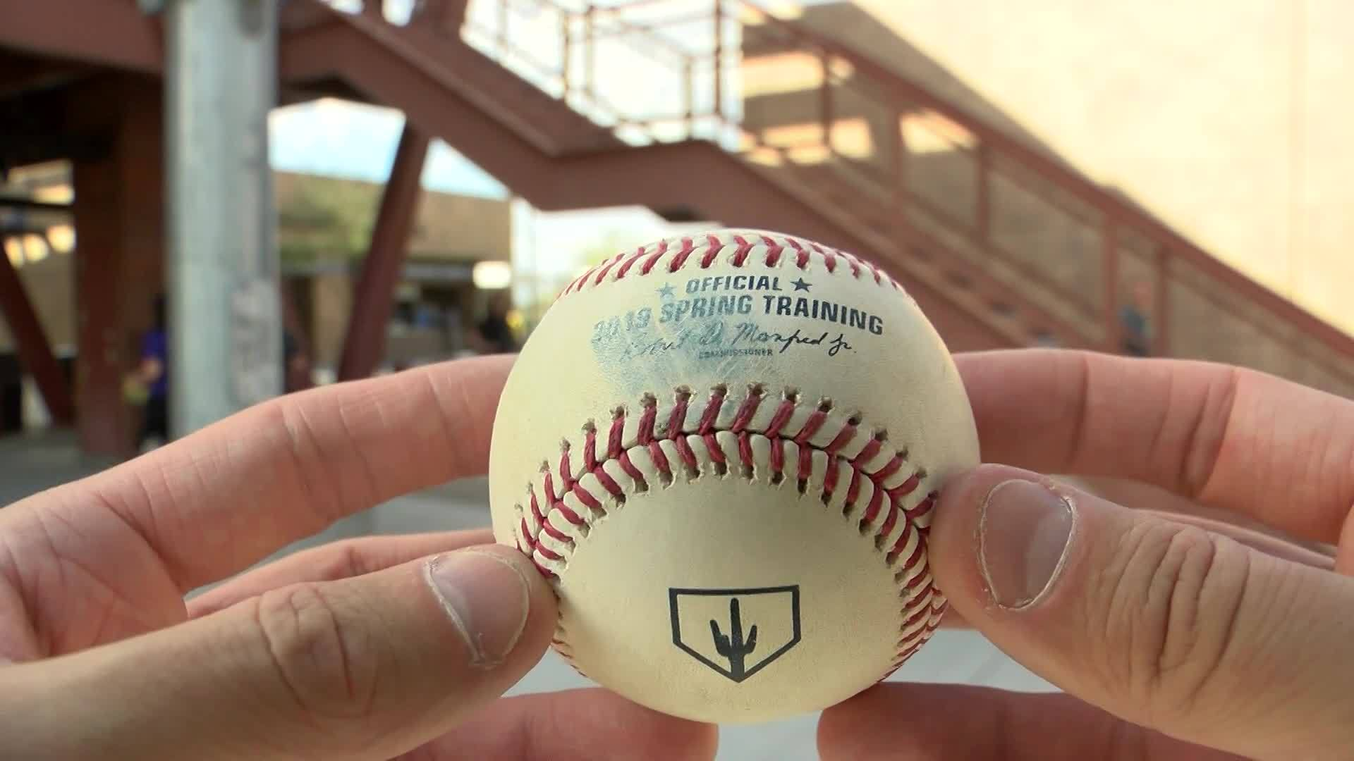 Close up look at an official Spring Training baseball