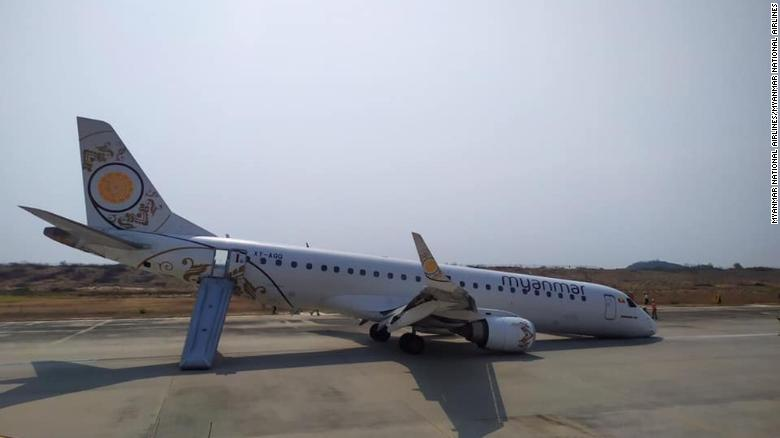 Pilot in Myanmar miraculously lands plane without front wheels