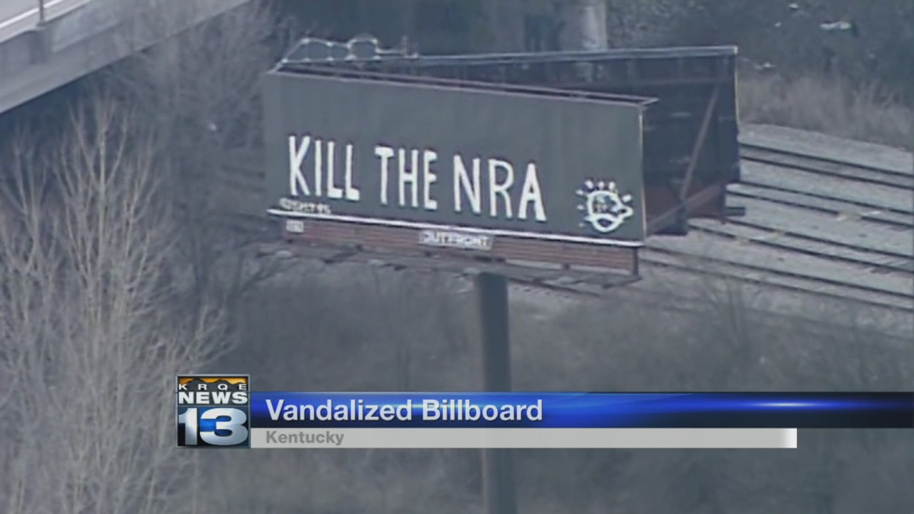 Billboard is tagged with 'Kill the NRA;' gun group responds_799040