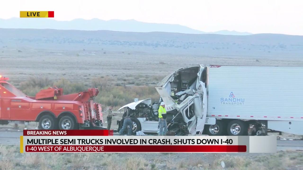 Semi crash closes all eastbound lanes of I-40 near Route 66 Casino