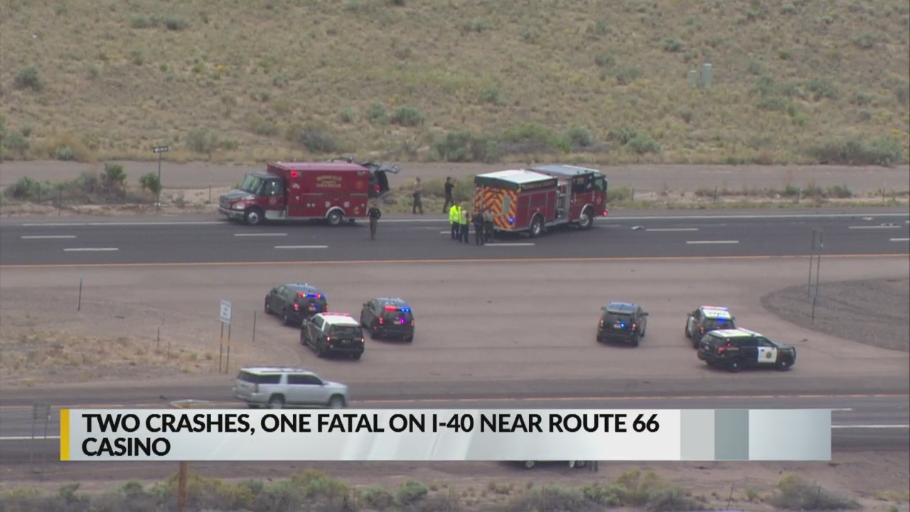 Two crashes on I-40 near Route 66 Casino cause major traffic