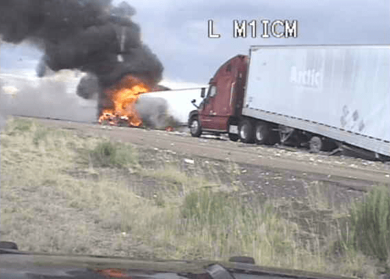 State Police video shows fiery semi-truck crash on I-40