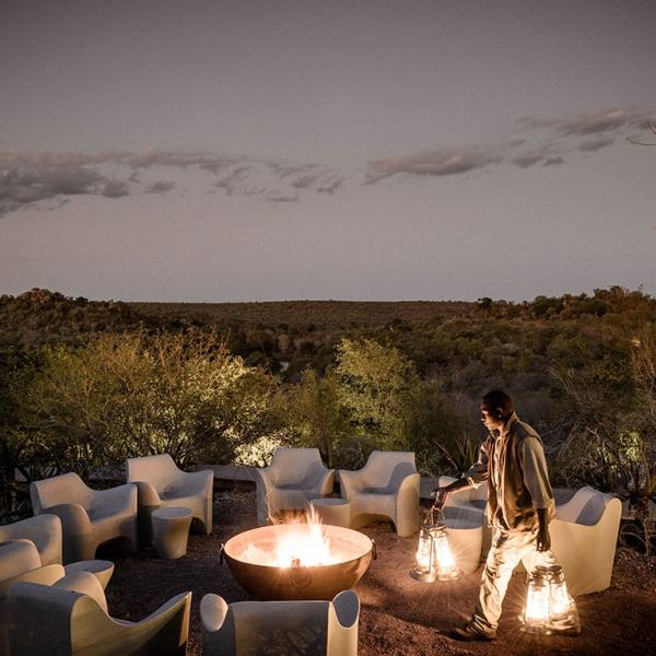 Singita Lebombo Lodge Evening Fire